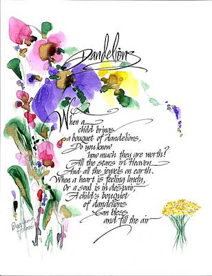 Drawing - Dandelions Poem And Art by Darlene Flood