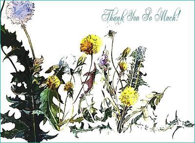 Dandelion Digital Art - Dandelions Saying Thanks by Mindy Newman