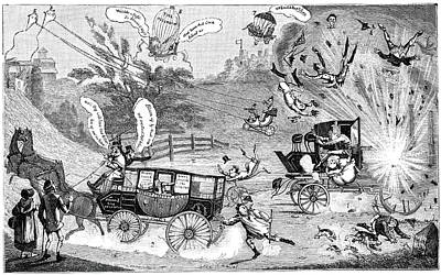 Dangers Of Steam Carriages, 19th Century Art Print by
