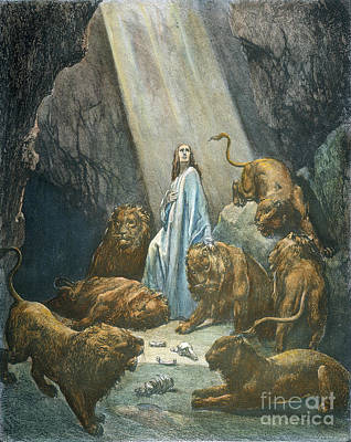 Drawing - Daniel In The Den Of Lions by Gustave Dore