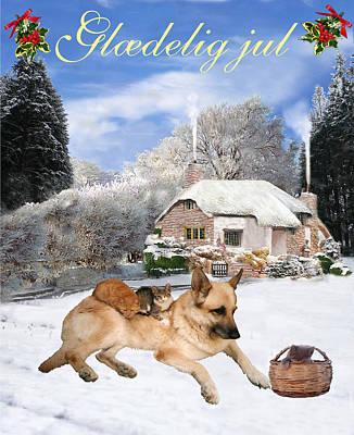 Friend Holiday Card Mixed Media - Danish German Shepherd Holiday by Eric Kempson