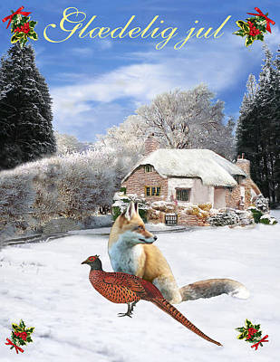 Pheasant Mixed Media - Danish Winter Garden Fox And Pheasant by Eric Kempson
