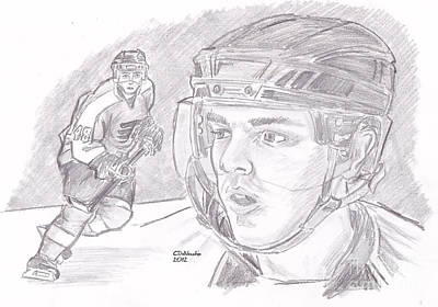 Drawing - Danny Briere by Chris  DelVecchio