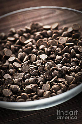 Chip Photograph - Dark Chocolate Chips by Elena Elisseeva