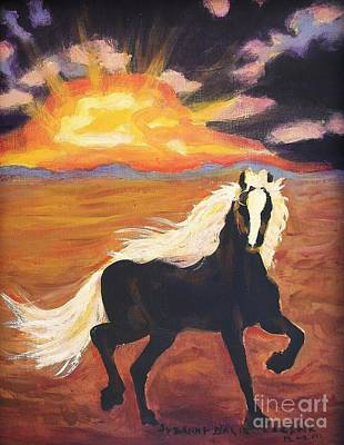 Painting - Dark Horse At Sunset by Suzanne  Marie Leclair