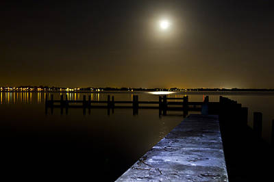 Darkness On The Bradenton Bay Art Print by Nicholas Evans