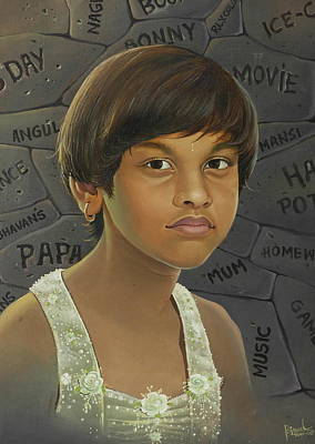 Painting - Darling Daughter.. by Bijay Biswaal