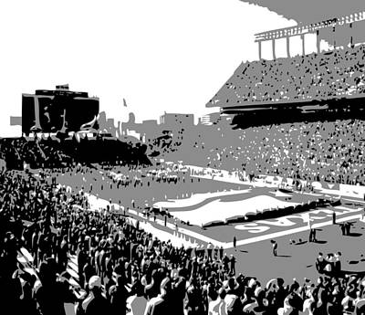 Heart Of Texas Digital Art - Darrell K Royal Texas Memorial Stadium Bw3 by Scott Kelley