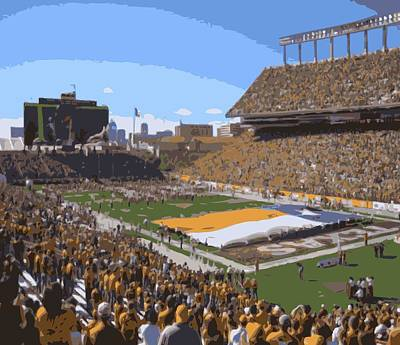Heart Of Texas Digital Art - Darrell K Royal Texas Memorial Stadium Color 16 by Scott Kelley