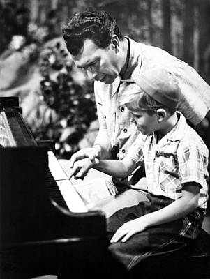 Dave Brubeck And Teaching His Son Art Print by Everett