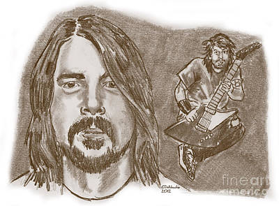Drawing - Dave Grohl by Chris  DelVecchio