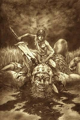 David And Goliath Print by Amiri Bennett