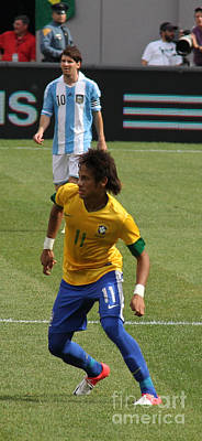 Neymar Junior Photograph - David And Goliath Lionel Messi And Neymar Junior by Lee Dos Santos