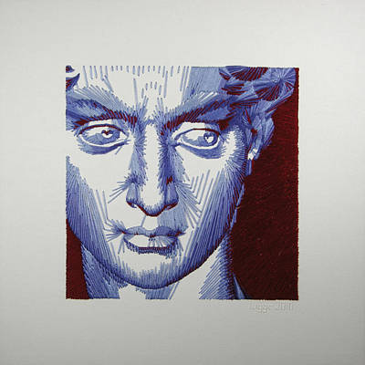 David In Periwinkle And Burgundy Art Print by Barbara Lugge