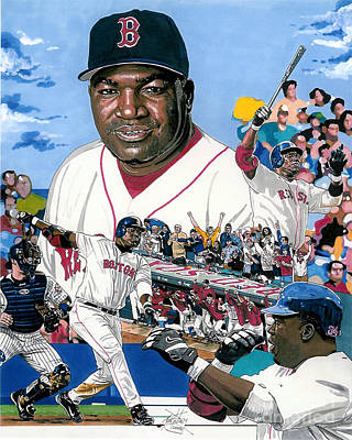 Mlb Boston Red Sox Drawing - David Ortiz by Neal Portnoy