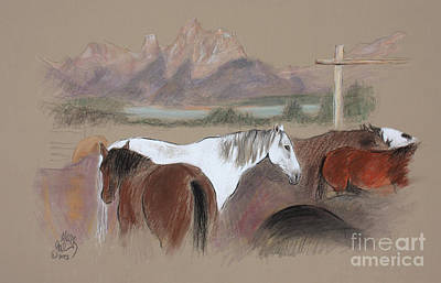 Dawn At Triangle X Corrals Jackson Hole Art Print by Paul Miller