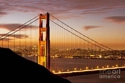 Photograph - Dawn Over The Golden Gate by Brian Jannsen