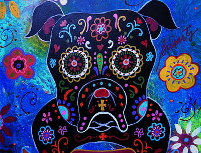 Day Of The Dead Bulldog Art Print by Pristine Cartera Turkus