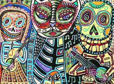 Mardi Gras Painting - -day Of The Dead Cat Serenade by Sandra Silberzweig