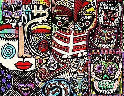 Day Of The Dead Cats Print by Sandra Silberzweig