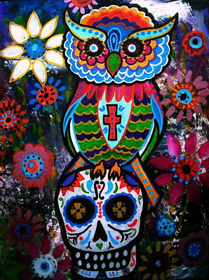 Tree Of Life Painting - Day Of The Dead Owl by Pristine Cartera Turkus
