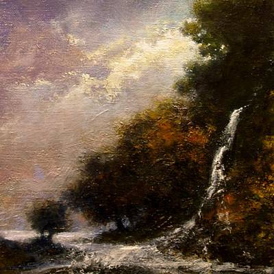 Mountain Scenery Wall Art - Painting - Daybreak Falls by Jim Gola