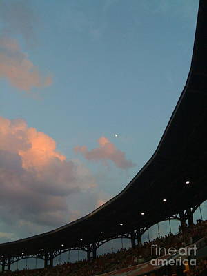 Photograph - Daylight Moon Over Busch Stadium by Barbara Plattenburg