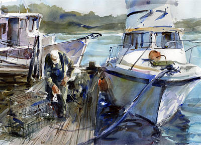 Lobster Boat Maine Painting - Days End by Gordon France