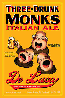 Three Drunk Monks Drawing - De Luca Three Drunk Monks by John OBrien