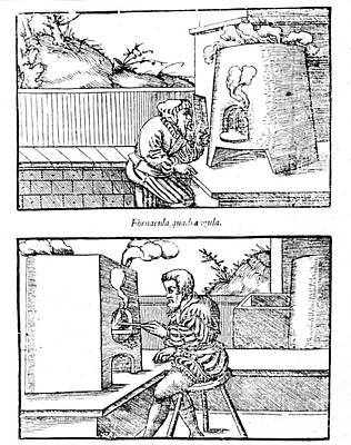 De Re Metallica, Cupellation Furnaces Print by Science Source