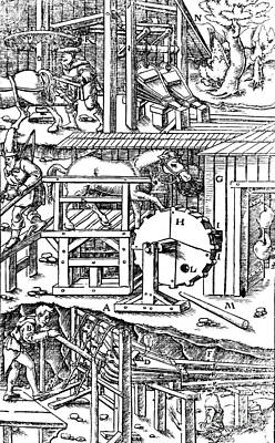 De Re Metallica, Ventilation Of Mines Art Print by Science Source