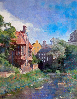 Art Print featuring the painting Dean Village Edinburgh by Richard James Digance