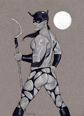 Male Nude Drawing Drawing - Death Dealer by Chance Manart