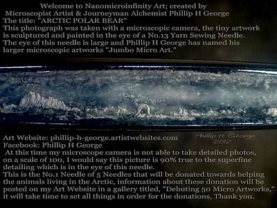 Nanomicroinfinity Art Painting - Debuting Arctic Polar Bear Sewing Needle by Phillip H George