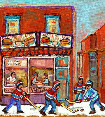 Decarie Hot Dogs Painting - Decarie Hot Dog Montreal Restaurant Paintings Ville St Laurent Streets Of Montreal Paintings by Carole Spandau