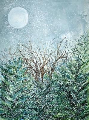 December Full Cold Moon Art Print by Robin Samiljan
