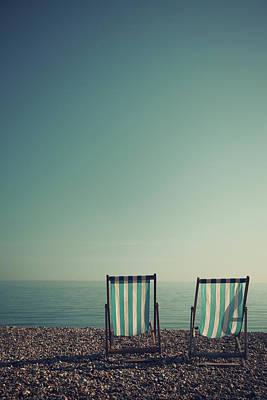 Deck Chairs On Brighton Beach Art Print