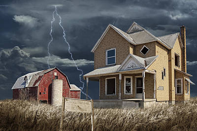 Decline Of The Small Farm Number 6 Version 2 Art Print by Randall Nyhof