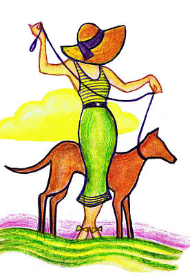 Straw Hat Drawing - Deco Dog Walker by Mel Thompson