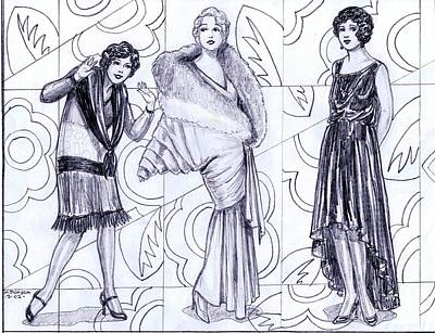 Evening Gown Drawing - Deco Fashions by Mel Thompson