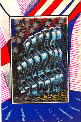 Blue And Gray Drawing - Deconstructed Flag Room by Al Goldfarb