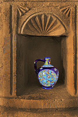 Decorative Carafe In An Alcove Art Print by Kantilal Patel