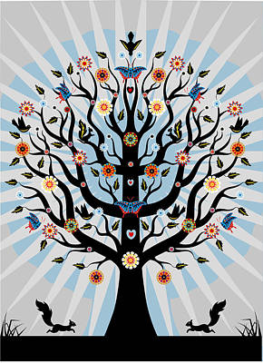 Art And Craft Digital Art - Decorative Illustrated Tree by Suzanne Carpenter Illustration