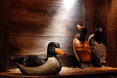 Cabin Interiors Photograph - Decoys In Old Hunting Cabin by Olivier Le Queinec