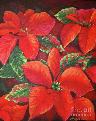 Painting - Deep Red Poinsettia by Inese Poga