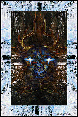 Contemporary Native Art Mixed Media - Deer Messenger by Alyssa Hinton