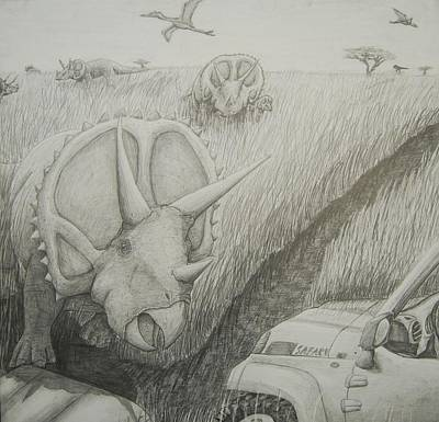 Jeep Drawing - Defending The Herd by David Pry