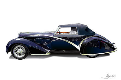 Delahaye On White Art Print