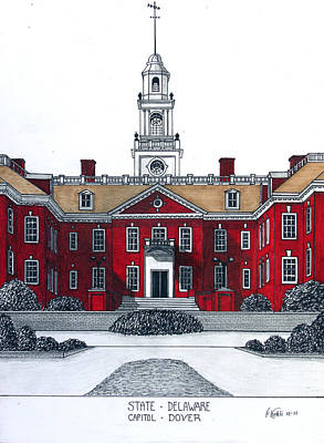 Drawing - Delaware State Capitol by Frederic Kohli