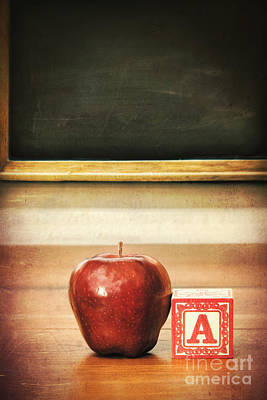 Photograph - Delicious Red Apple On School Desk by Sandra Cunningham